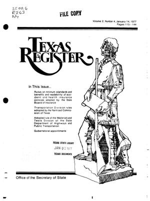 Primary view of object titled 'Texas Register, Volume 2, Number 4, Pages 115-144, January 14, 1977'.