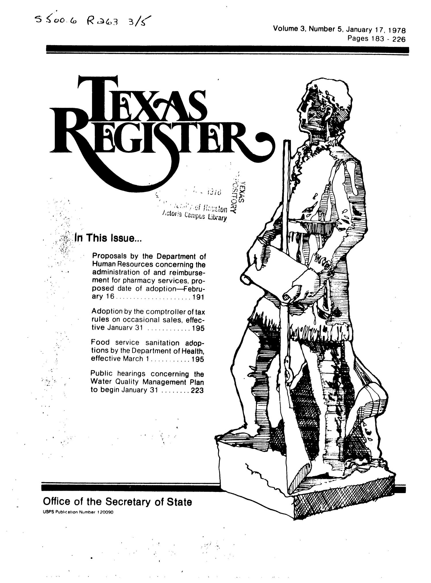 Texas Register, Volume 3, Number 5, Pages 183-226, January 17, 1978                                                                                                      Title Page