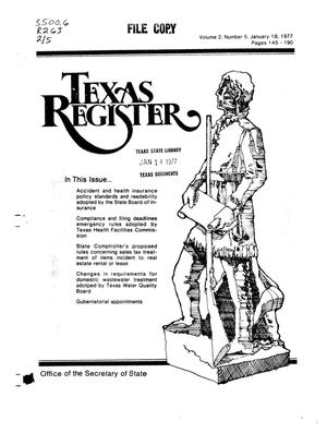 Primary view of object titled 'Texas Register, Volume 2, Number 5, Pages 145-190, January 18, 1977'.