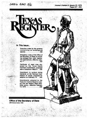 Primary view of object titled 'Texas Register, Volume 3, Number 6, Pages 227-264, January 20, 1978'.