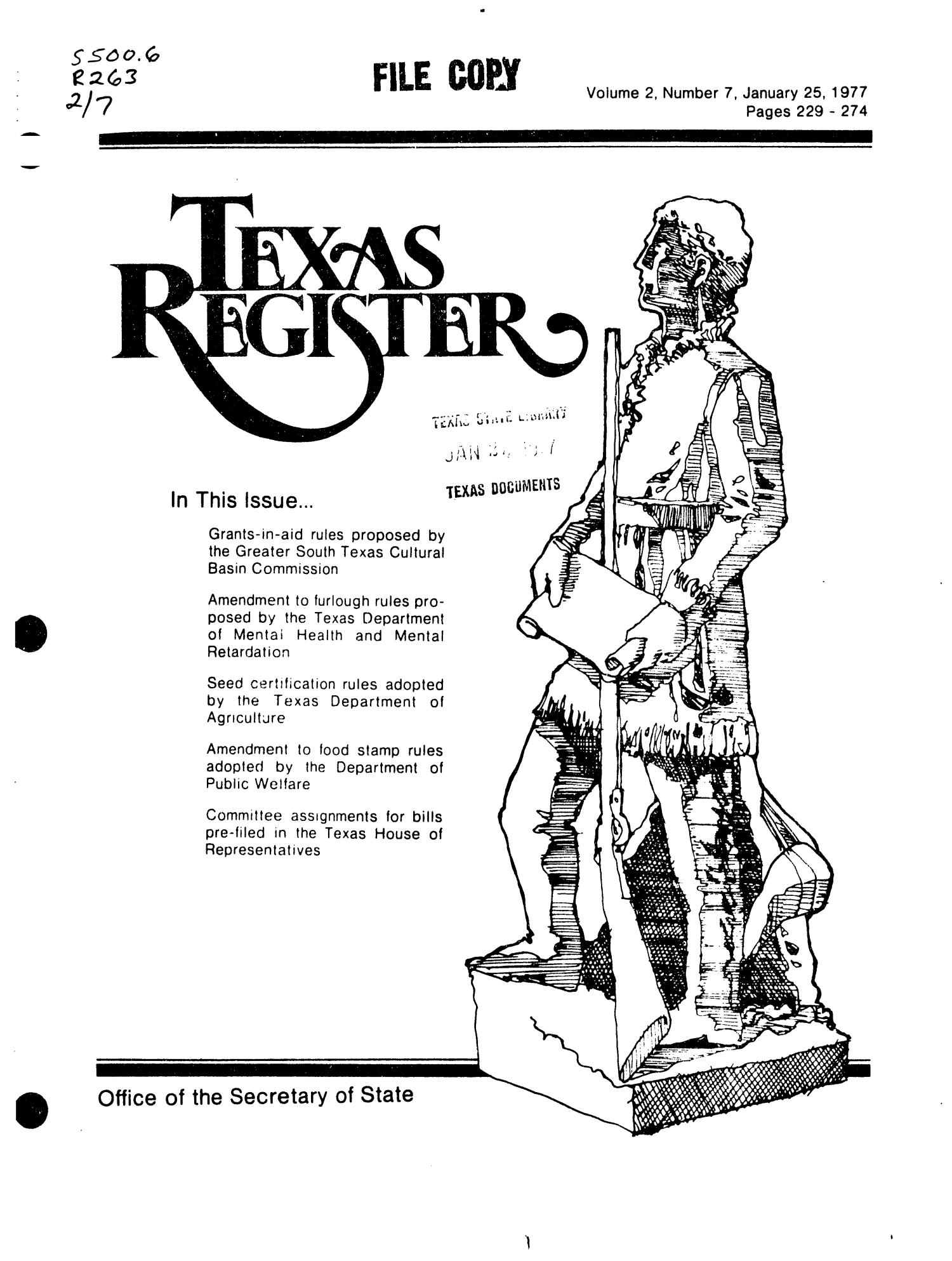 Texas Register, Volume 2, Number 7, Pages 229-274, January 25, 1977                                                                                                      Title Page
