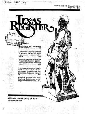 Primary view of object titled 'Texas Register, Volume 3, Number 7, Pages 265-343, January 27, 1978'.