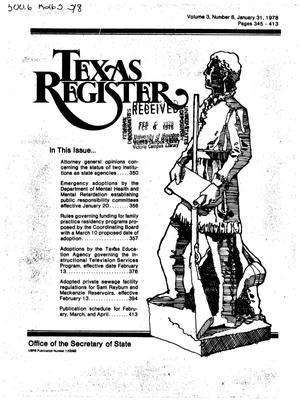 Primary view of object titled 'Texas Register, Volume 3, Number 8, Pages 345-413, January 31, 1978'.