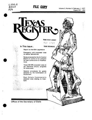 Primary view of object titled 'Texas Register, Volume 2, Number 9, Pages 331-404, February 1, 1977'.