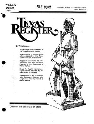 Primary view of object titled 'Texas Register, Volume 2, Number 11, Pages 445-505, February 8, 1977'.