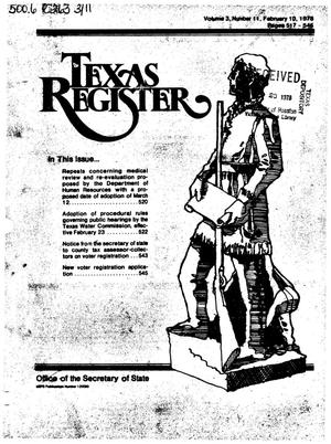 Primary view of object titled 'Texas Register, Volume 3, Number 11, Pages 517-546, February 10, 1978'.
