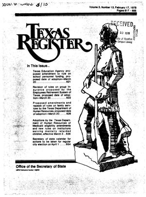 Texas Register, Volume 3, Number 13, Pages 617-655, February 17, 1978
