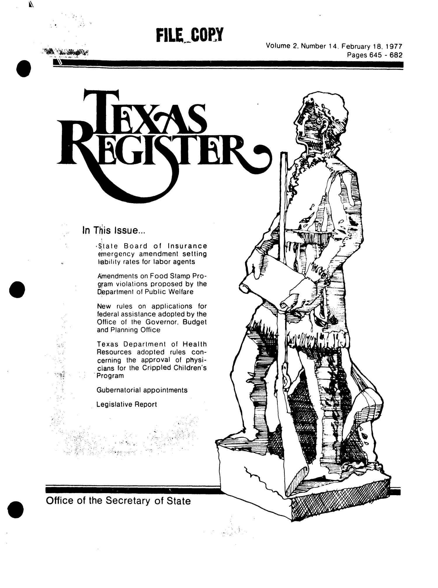 Texas Register, Volume 2, Number 14, Pages 645-682, February 18, 1977                                                                                                      Title Page
