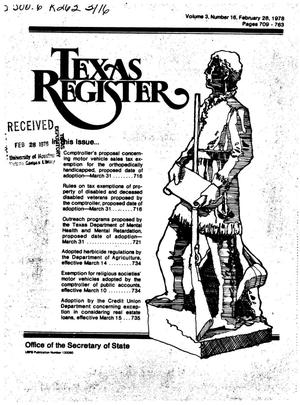 Texas Register, Volume 3, Number 16, Pages 709-763, February 28, 1978
