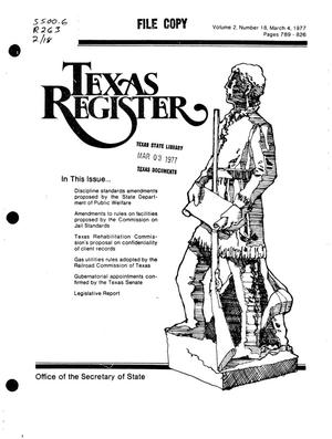 Primary view of object titled 'Texas Register, Volume 2, Number 18, Pages 789-826, March 4, 1977'.