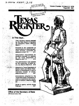 Primary view of object titled 'Texas Register, Volume 3, Number 18, Pages 803-851, March 10, 1978'.