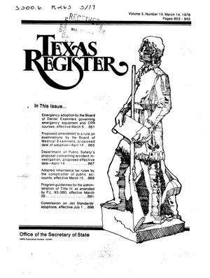 Primary view of object titled 'Texas Register, Volume 3, Number 19, Pages 853-943, March 14, 1978'.