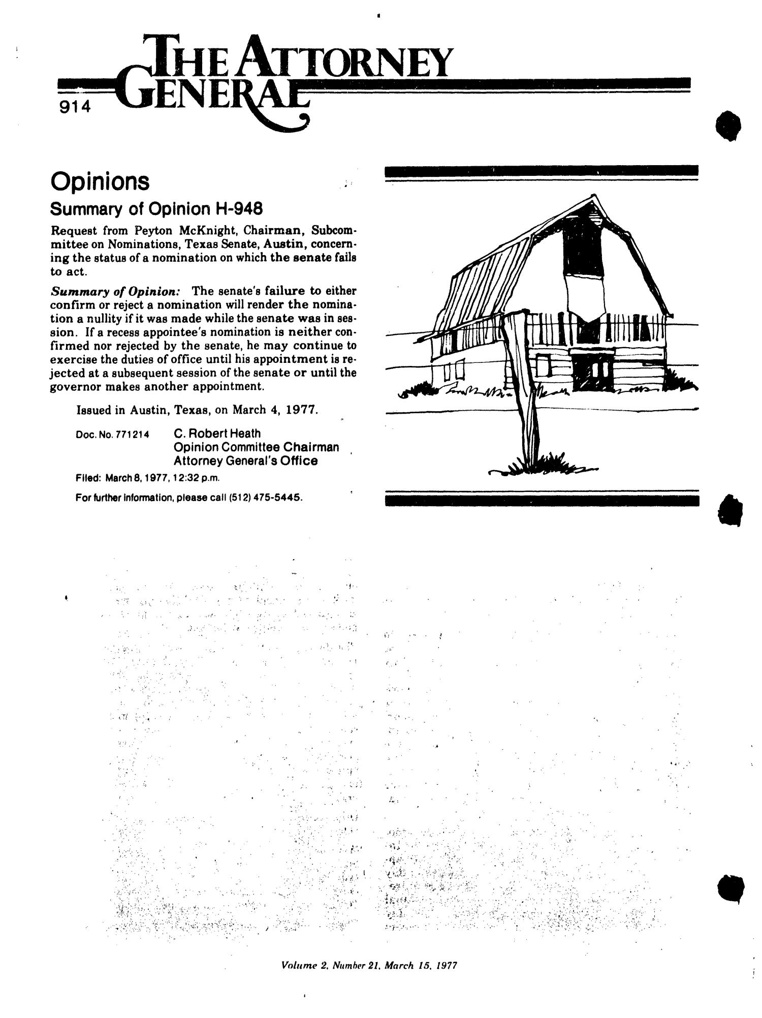 Texas Register, Volume 2, Number 21, Pages 911-972, March 15, 1977                                                                                                      914