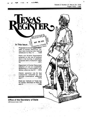 Primary view of object titled 'Texas Register, Volume 3, Number 22, Pages 1053-1089, March 24, 1978'.