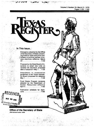 Primary view of object titled 'Texas Register, Volume 3, Number 24, Pages 1129-1165, March 31, 1978'.