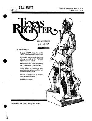 Primary view of object titled 'Texas Register, Volume 2, Number 26, Pages 1171-1216, April 1, 1977'.