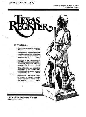 Primary view of object titled 'Texas Register, Volume 3, Number 28, Pages 1397-1443, April 14, 1978'.