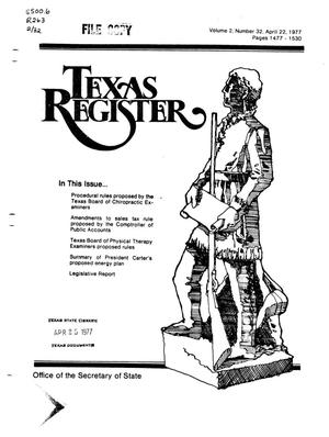Primary view of object titled 'Texas Register, Volume 2, Number 32, Pages 1477-1530, April 22, 1977'.