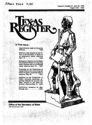 Primary view of object titled 'Texas Register, Volume 3, Number 31, Pages 1525-1555, April 25, 1978'.