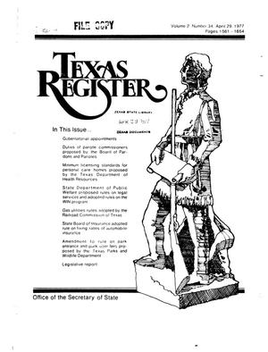 Primary view of object titled 'Texas Register, Volume 2, Number 34, Pages 1561-1654, April 29, 1977'.