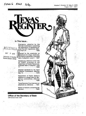 Primary view of object titled 'Texas Register, Volume 3, Number 32, Pages 1557-1611, May 2, 1978'.