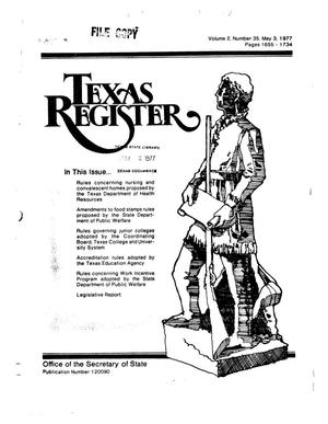 Primary view of object titled 'Texas Register, Volume 2, Number 35, Pages 1655-1734, May 3, 1977'.