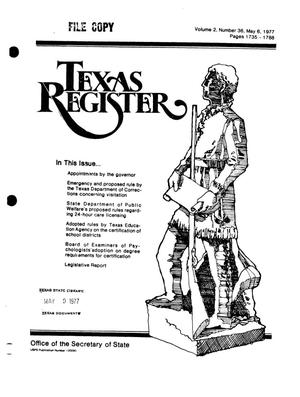 Primary view of object titled 'Texas Register, Volume 2, Number 36, Pages 1735-1788, May 6, 1977'.