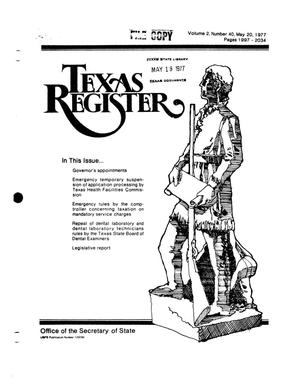 Primary view of object titled 'Texas Register, Volume 2, Number 40, Pages 1997-2034, May 20, 1977'.