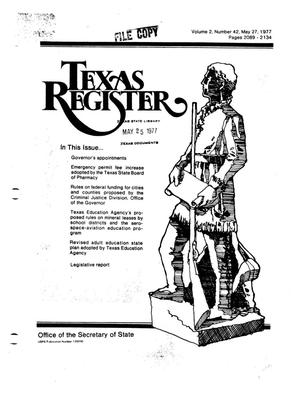 Primary view of object titled 'Texas Register, Volume 2, Number 42, Pages 2089-2134, May 27, 1977'.