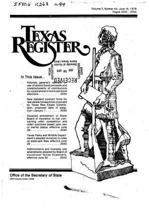 Primary view of object titled 'Texas Register, Volume 3, Number 44, Pages 2033-2055, June 16, 1978'.