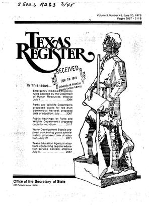 Primary view of object titled 'Texas Register, Volume 3, Number 45, Pages 2057-2118, June 20, 1978'.