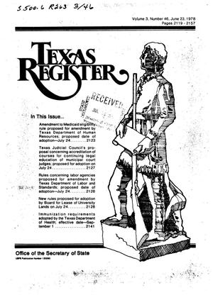 Primary view of object titled 'Texas Register, Volume 3, Number 46, Pages 2119-2157, June 23, 1978'.