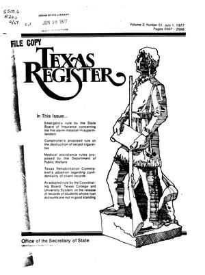 Primary view of object titled 'Texas Register, Volume 2, Number 51, Pages 2567-2588, July 1, 1977'.