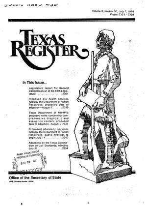 Primary view of object titled 'Texas Register, Volume 3, Number 50, Pages 2333-2369, July 7, 1978'.