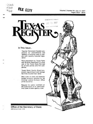 Primary view of object titled 'Texas Register, Volume 2, Number 54, Pages 2633-2670, July 12, 1977'.