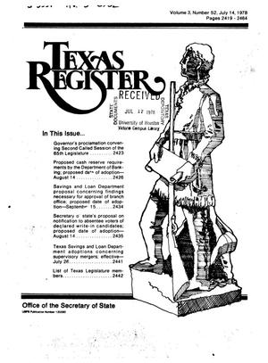 Primary view of object titled 'Texas Register, Volume 3, Number 52, Pages 2419-2464, July 14, 1978'.
