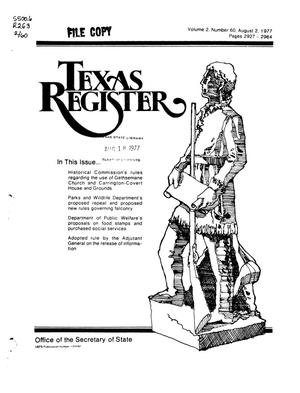 Primary view of object titled 'Texas Register, Volume 2, Number 60, Pages 2927-2964, August 2, 1977'.