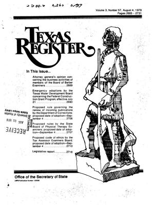 Primary view of object titled 'Texas Register, Volume 3, Number 57, Pages 2685-2731, August 4, 1978'.