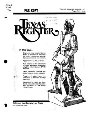 Primary view of object titled 'Texas Register, Volume 2, Number 62, Pages 2995-3048, August 9, 1977'.