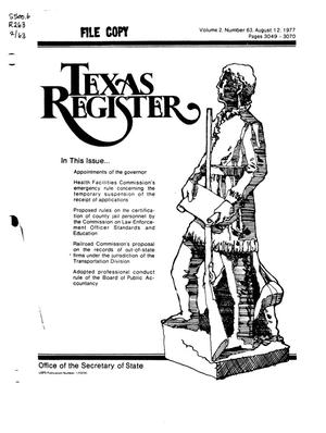 Primary view of object titled 'Texas Register, Volume 2, Number 63, Pages 3049-3070, August 12, 1977'.