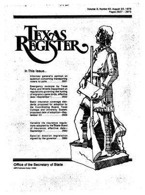 Primary view of object titled 'Texas Register, Volume 3, Number 62, Pages 2927-2973, August 22, 1978'.