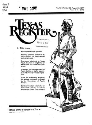 Primary view of object titled 'Texas Register, Volume 2, Number 65, Pages 3101-3170, August 23, 1977'.
