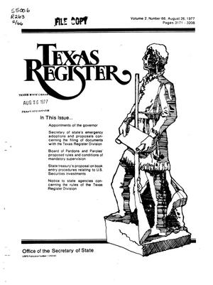 Primary view of object titled 'Texas Register, Volume 2, Number 66, Pages 3171-3208, August 26, 1977'.