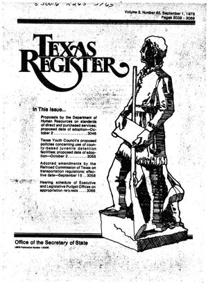 Primary view of object titled 'Texas Register, Volume 3, Number 65, Pages 3039-3069, September 1, 1978'.