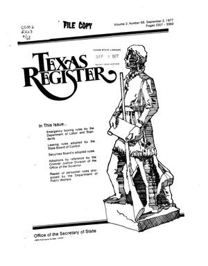 Primary view of object titled 'Texas Register, Volume 2, Number 68, Pages 3307-3352, September 2, 1977'.