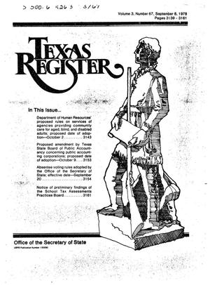 Primary view of object titled 'Texas Register, Volume 3, Number 67, Pages 3139-3161, September 8, 1978'.