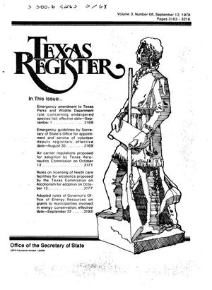 Primary view of object titled 'Texas Register, Volume 3, Number 68, Pages 3163-3218, September 12, 1978'.