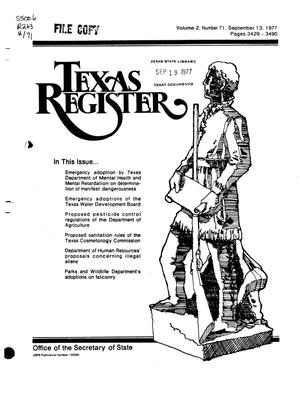 Primary view of object titled 'Texas Register, Volume 2, Number 71, Pages 3429-3490, September 13, 1977'.