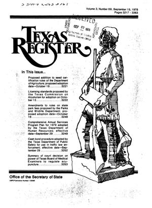 Primary view of object titled 'Texas Register, Volume 3, Number 69, Pages 3217-3263, September 15, 1978'.