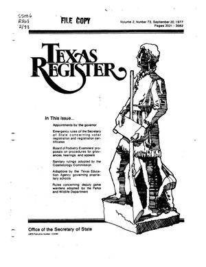 Primary view of object titled 'Texas Register, Volume 2, Number 73, Pages 3521-3582, September 20, 1977'.